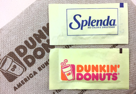 Spenda and Dunkin' Donuts sweetener packaging